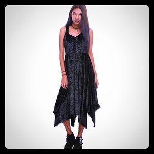 Hot Topic Black Velvet Hanky Hem Dress XS
